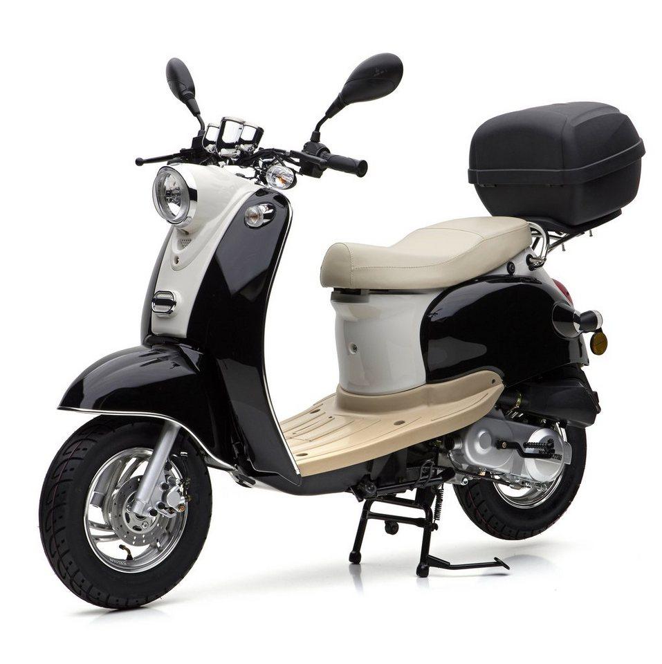 Nova Motors Mofaroller inkl. Topcase, 49 ccm, 25 km/h, schwarz weiß, »Venezia II« in schwarz-weiß