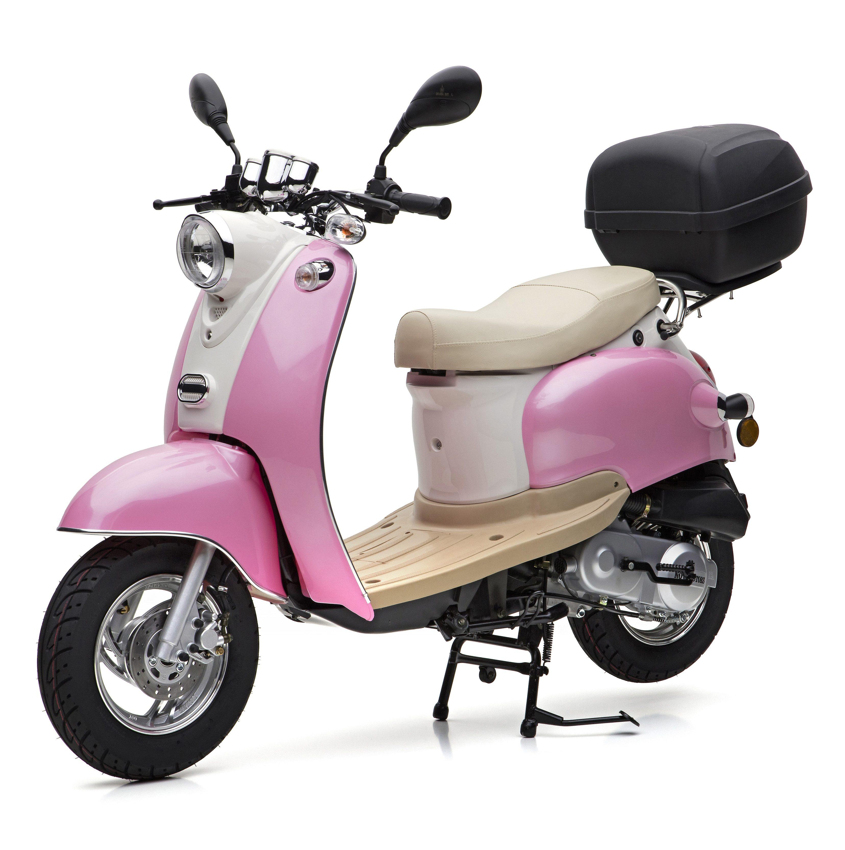 Nova Motors Motorroller inkl. Topcase, 49 ccm, 45 km/h, rosa weiß, »Venezia II«