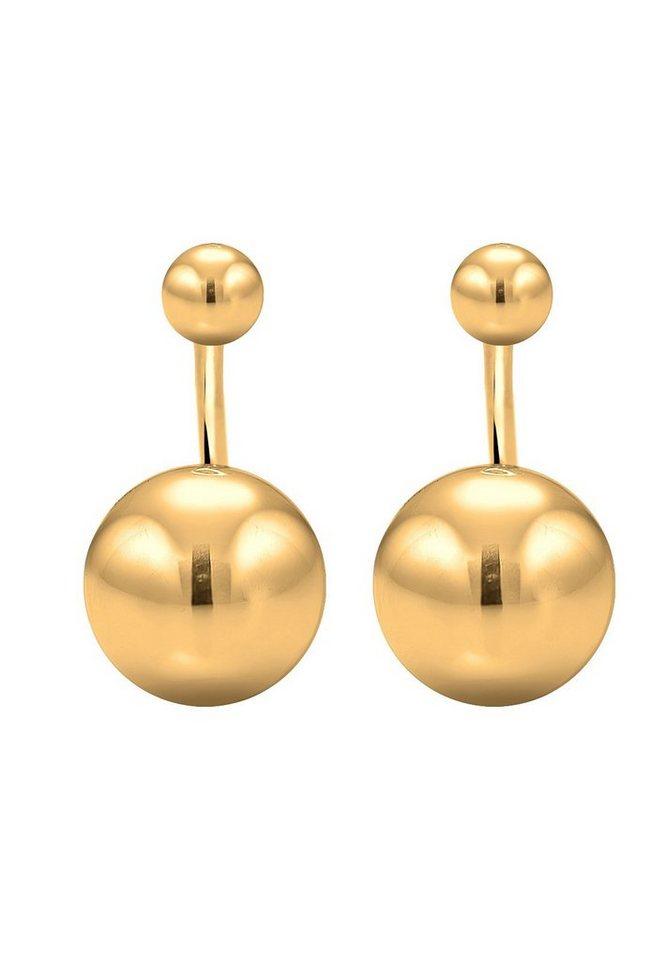 Elli Ohrringe »Front-Back Basic Trend Kugeln 925 Silber« in Gold