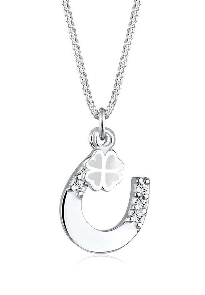 Elli Halskette »Hufeisen Kleeblatt Swarovski® Kristall 925 Silber« in Weiß
