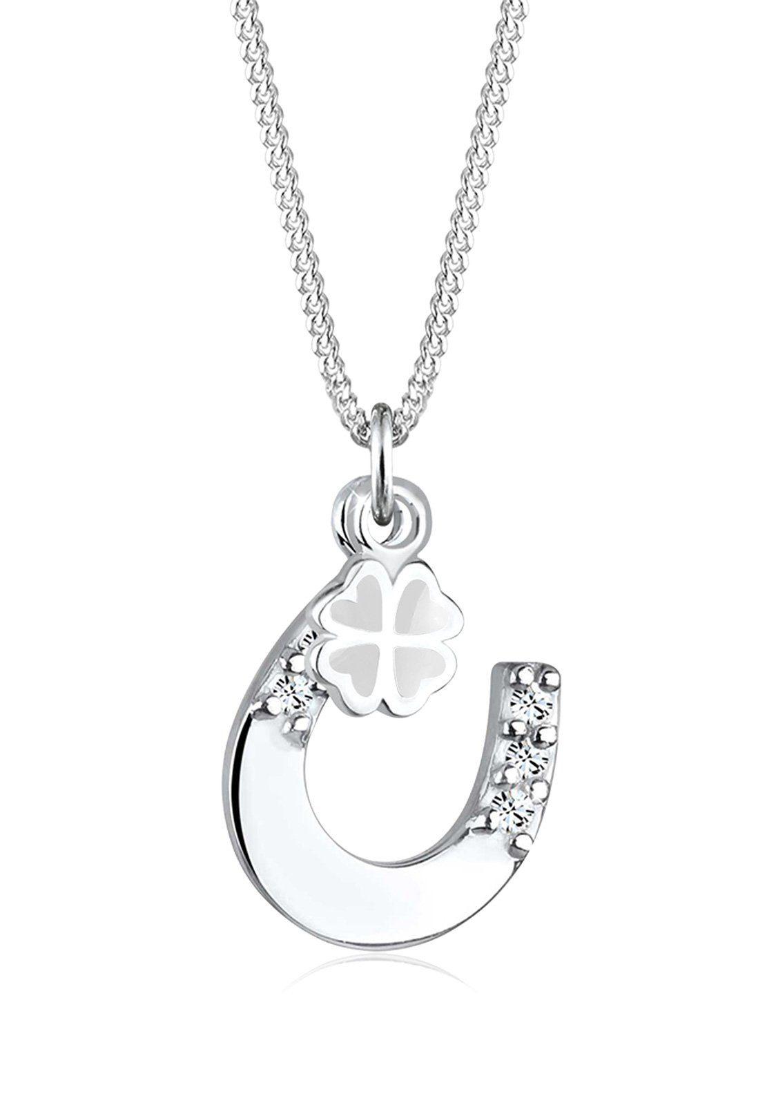 Elli Halskette »Hufeisen Kleeblatt Swarovski® Kristall 925 Silber«