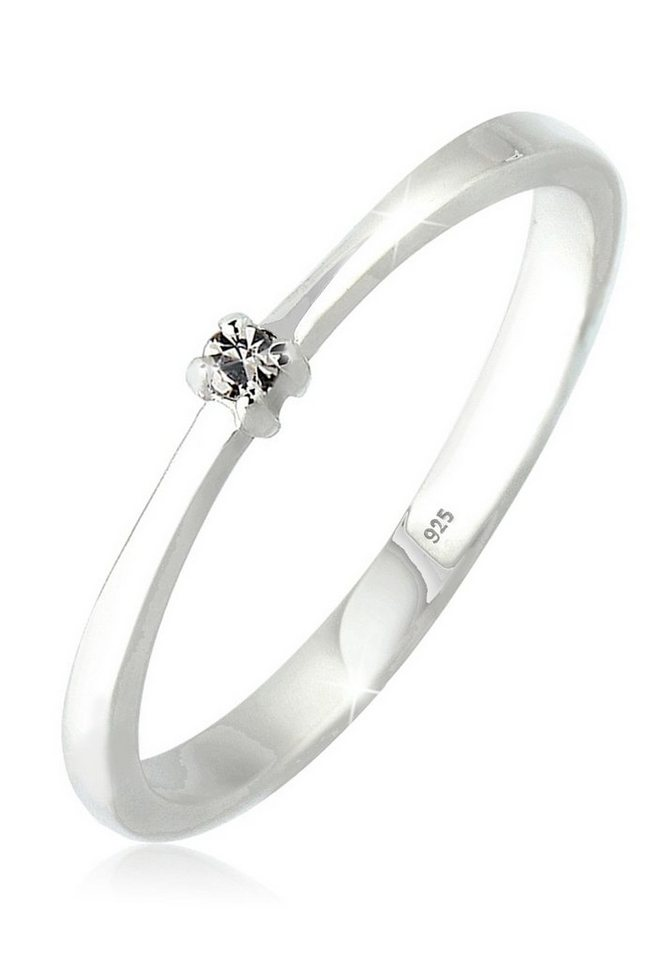 Elli Ring »Swarovski Kristall 925 Silber« in Grau