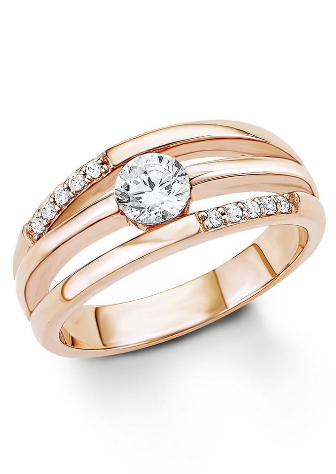 s.Oliver Silberring: Ring mit Zirkonia, »9032570« in Silber 925/18 Karat roségoldfarben vergoldet