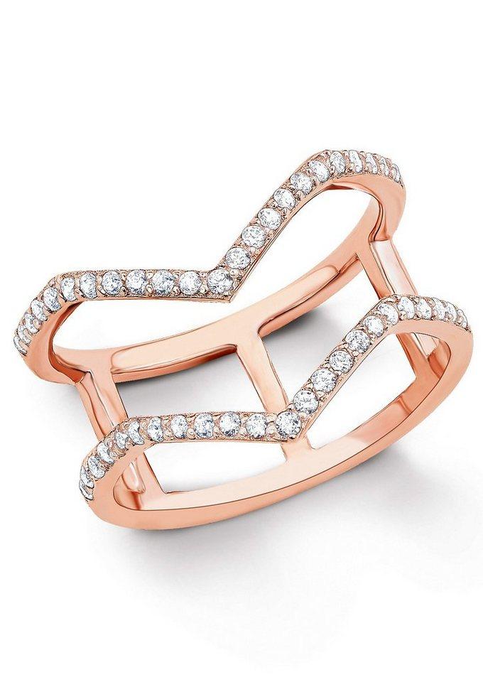 s.Oliver Silberring: Ring mit Zirkonia, »9036240« in Silber 925/18 Karat roségoldfarben vergoldet
