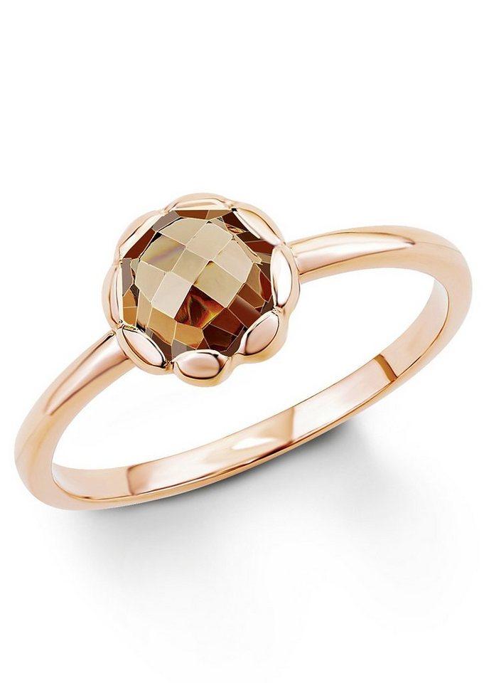 s.Oliver Silberring: Ring mit Zirkonia, »Blume, SO1294/1-4« in Silber 925/18 Karat roségoldfarben vergoldet