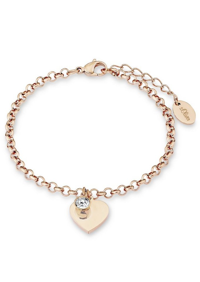 s.Oliver Armschmuck: Armband mit Swarovski® Kristall , »Herz, SO1348/1« in Roségoldfarben