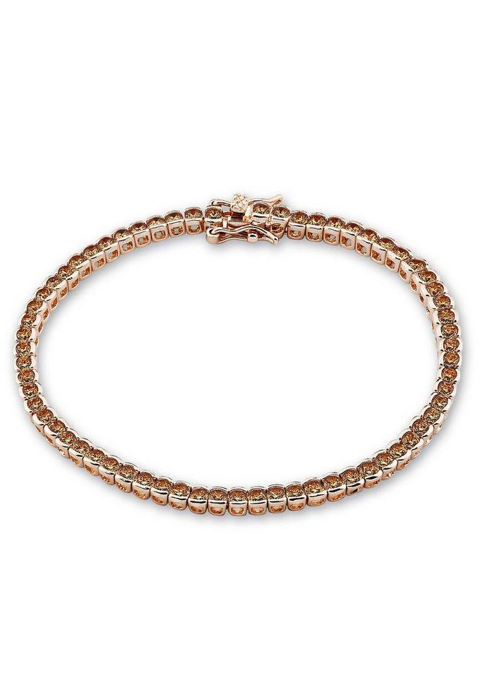 s.Oliver Armschmuck: Armband mit Zirkonia, »Tennisarmband, SO1295/1« in Silber 925/18 Karat roségoldfarben vergoldet