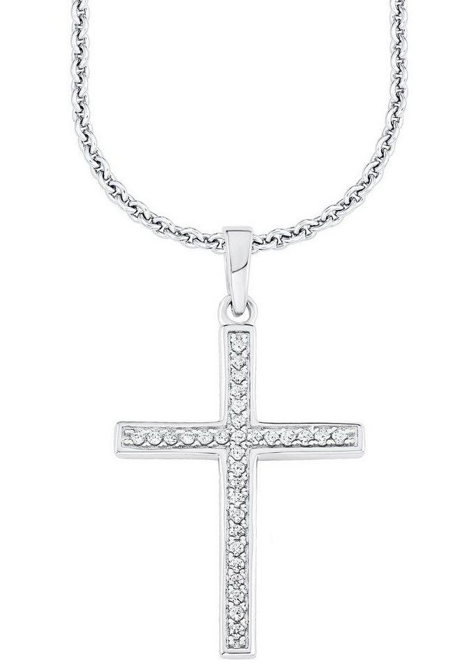 s.Oliver Halsschmuck: Kette mit Anhänger mit Zirkonia, »Kreuz, 9025541« in Silber 925