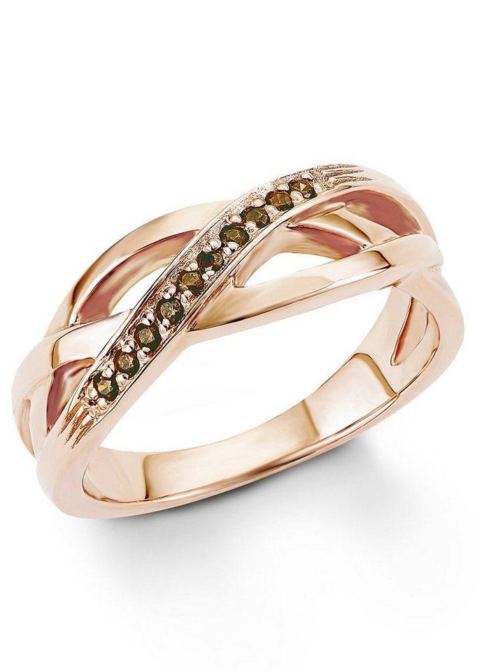 s.Oliver Silberring: Ring mit Zirkonia, »SO1297/1-4« in Silber 925/18 Karat roségoldfarben vergoldet