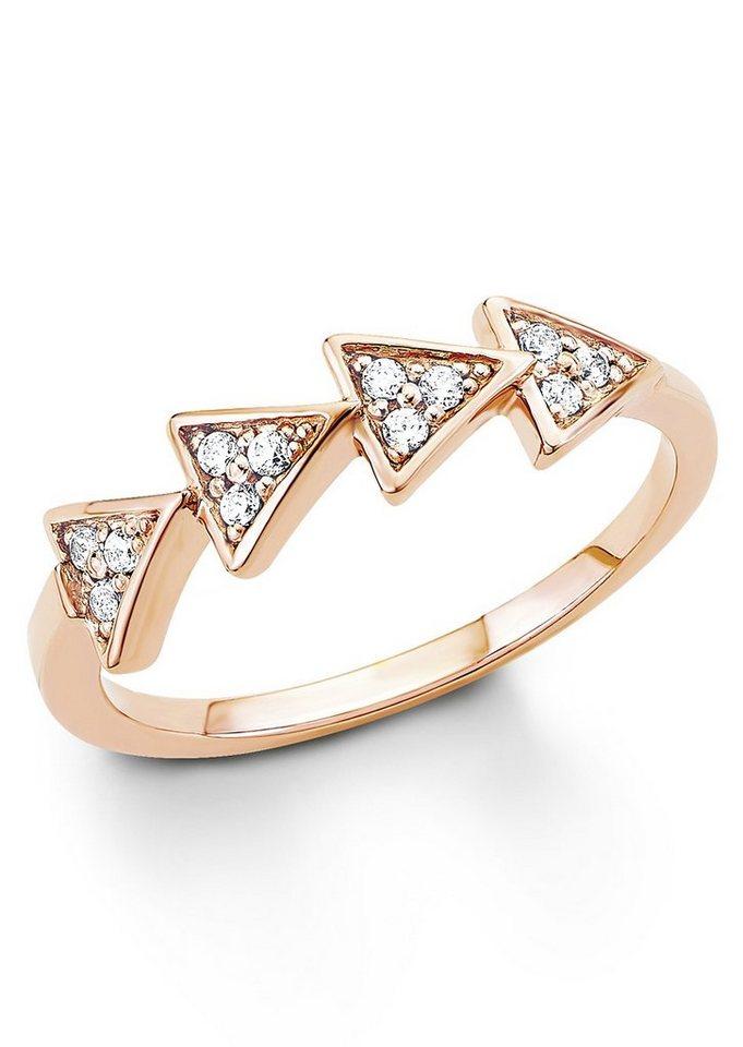 s.Oliver Silberring: Ring mit Zirkonia, »Dreieck, SO1321/1-4« in Silber 925/18 Karat roségoldfarben vergoldet
