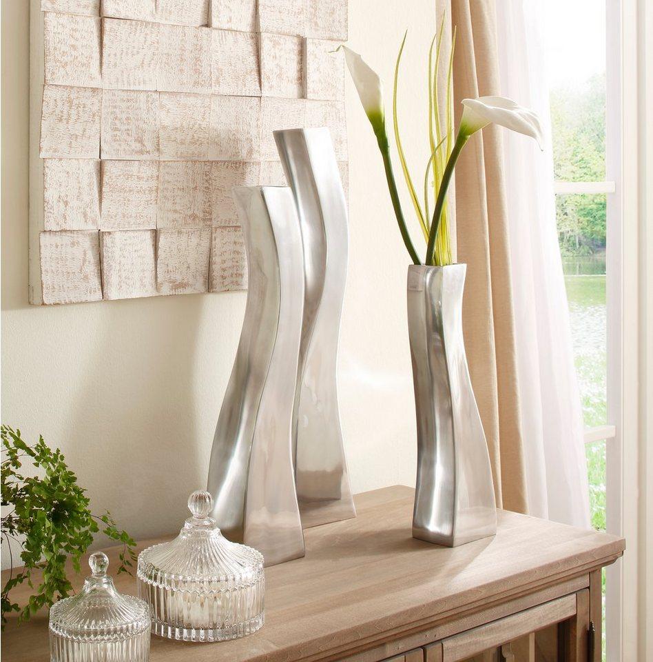 Premium collection by Home affaire Aluminium Vasen »Welle« in silberfarben