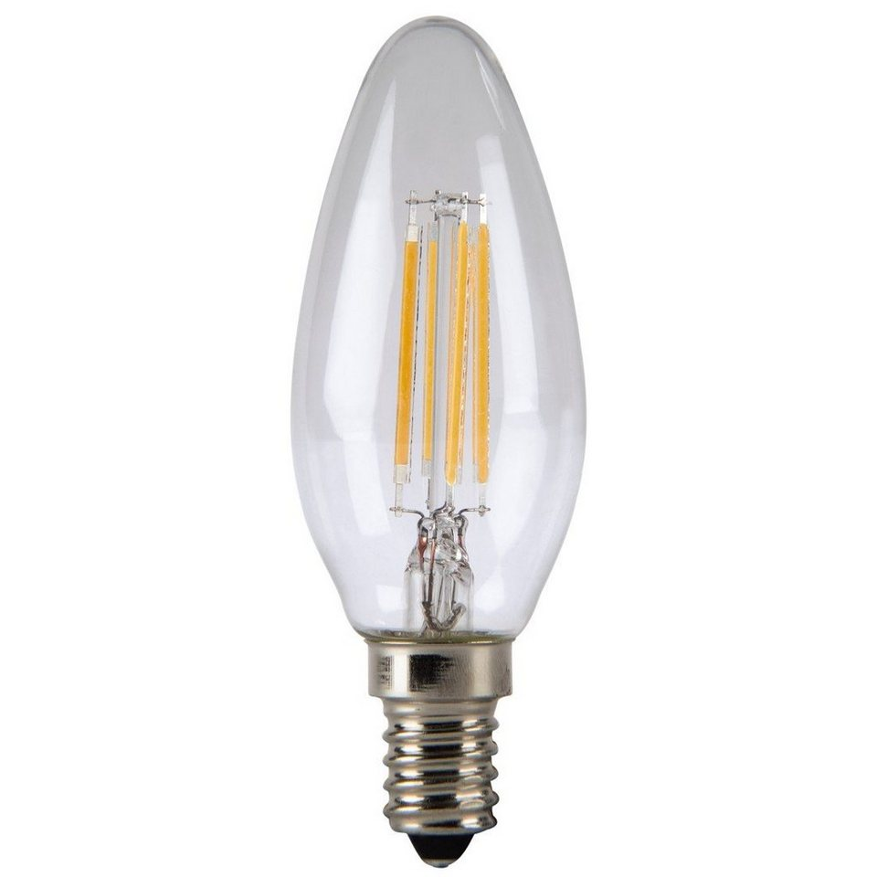 Xavax LED-Lampe, 4W, Kerzenform, Filament, E14, Warmweiß in Silber