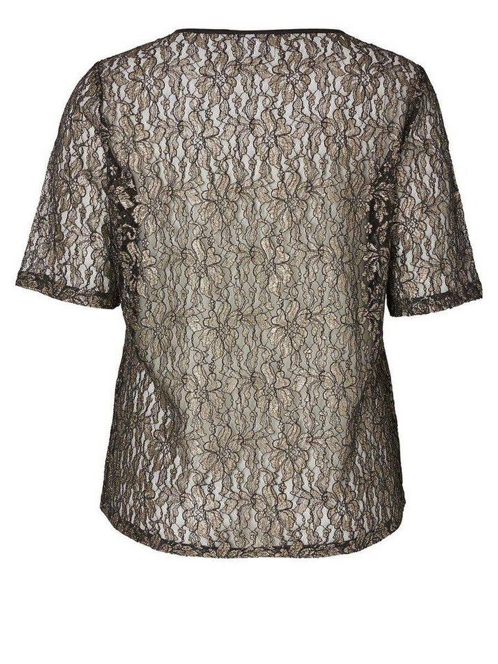 JUNAROSE Spitzen- Bluse mit 2/4 Ärmeln in Black