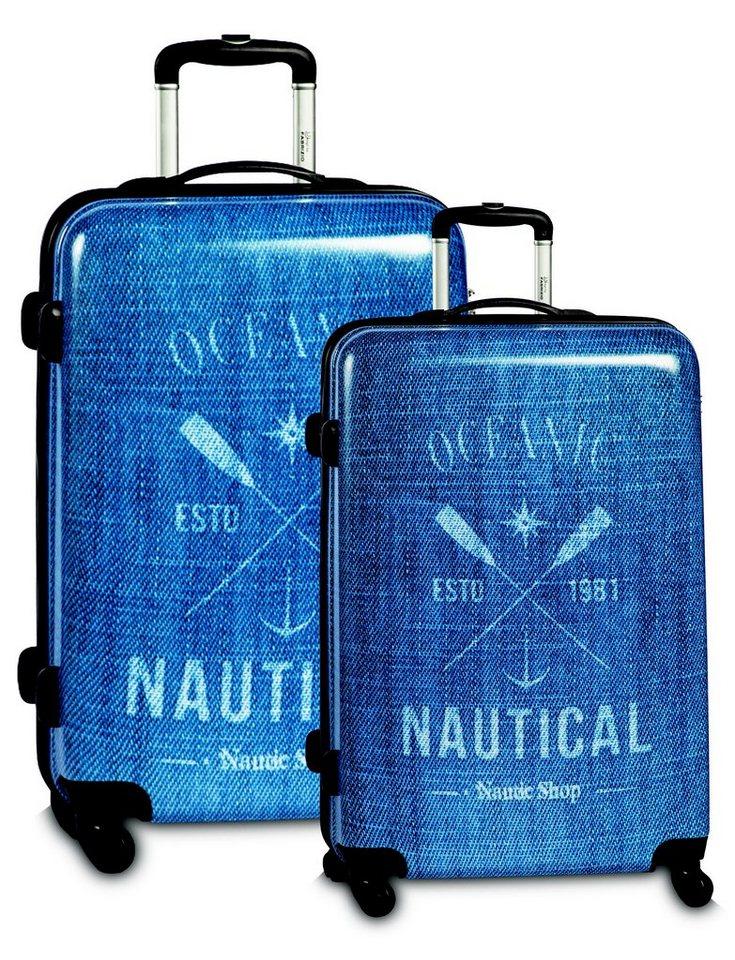 Fabrizio Hartschalen Trolley-Set mit 4 Rollen (2-tlg.), »Nautical - Jeans« in blau
