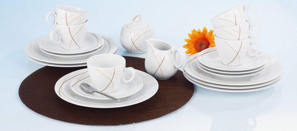 SELTMANN Weiden Kaffeeservice »Trio Joy«, 20-teilig in weiß/creme/braun