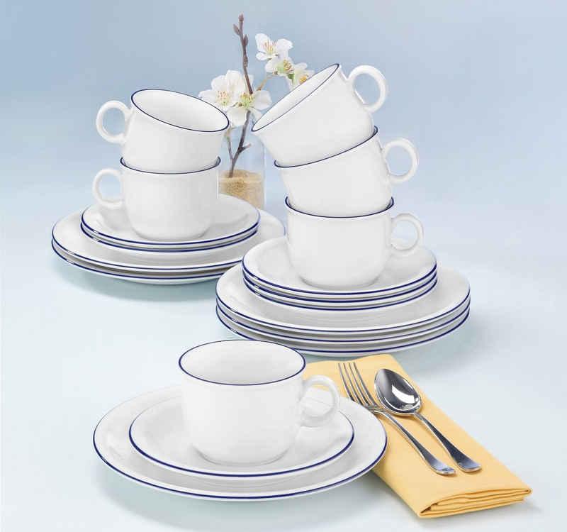 Seltmann Weiden Kaffeeservice »Compact Blaurand« (18-tlg), Porzellan, Spülmaschinengeeignet