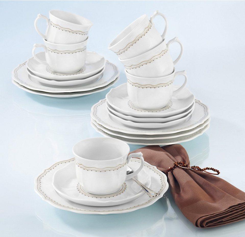 SELTMANN Weiden Kaffeeservice »Sonate Romance«, 18-teilig in weiß/braun