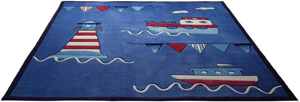 Kinder-Teppich, Esprit, »Captains World«, handgearbeiteter Konturenschnitt, Hoch-Tief-Struktur in blau