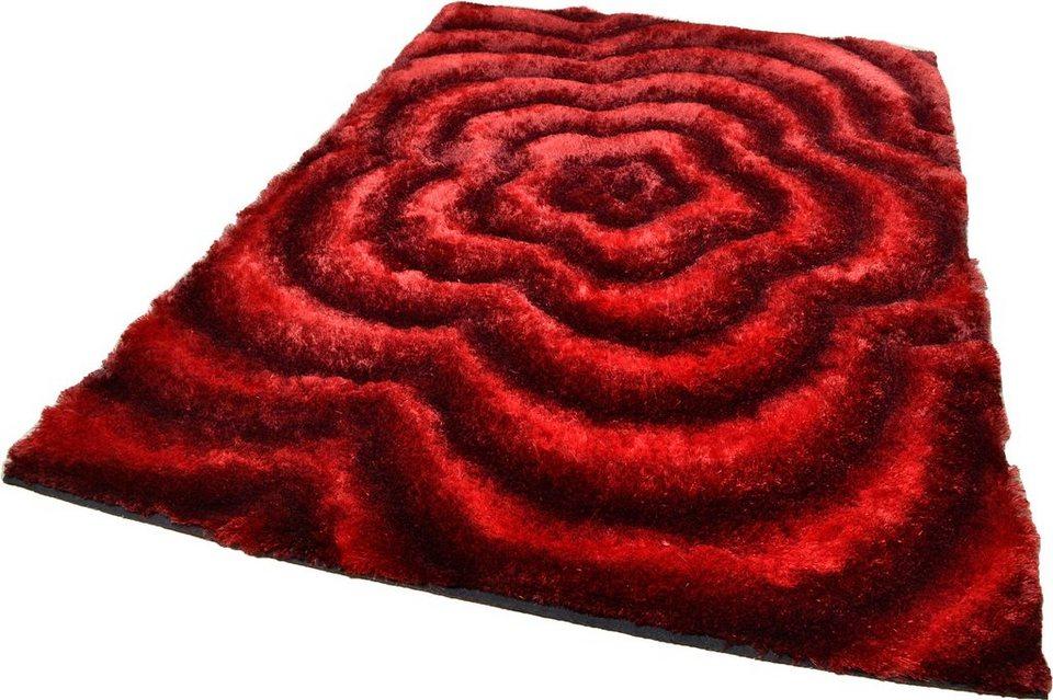 Hochflor-Teppich, Theko, »Landscape«, Höhe 33 mm, handgetuftet in rot