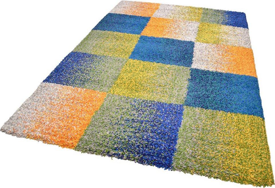 Hochflor-Teppich, Theko, »Color Shaggy 114«, Höhe 35 mm, handgewebt in bunt
