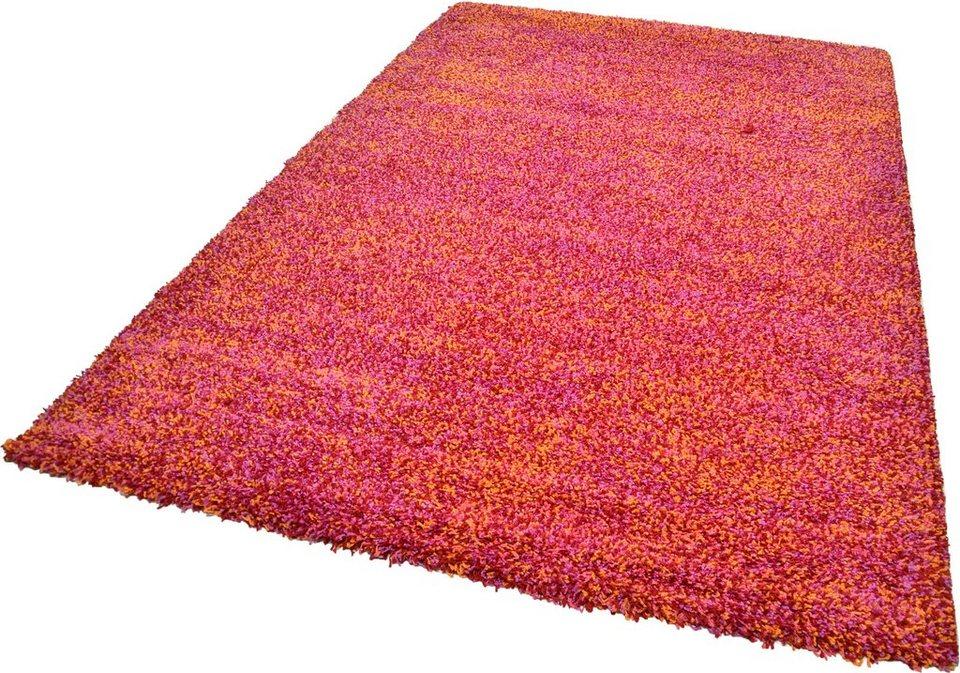 Hochflor-Teppich, Theko, »Color Shaggy 521«, Höhe 35 mm, handgewebt in rot