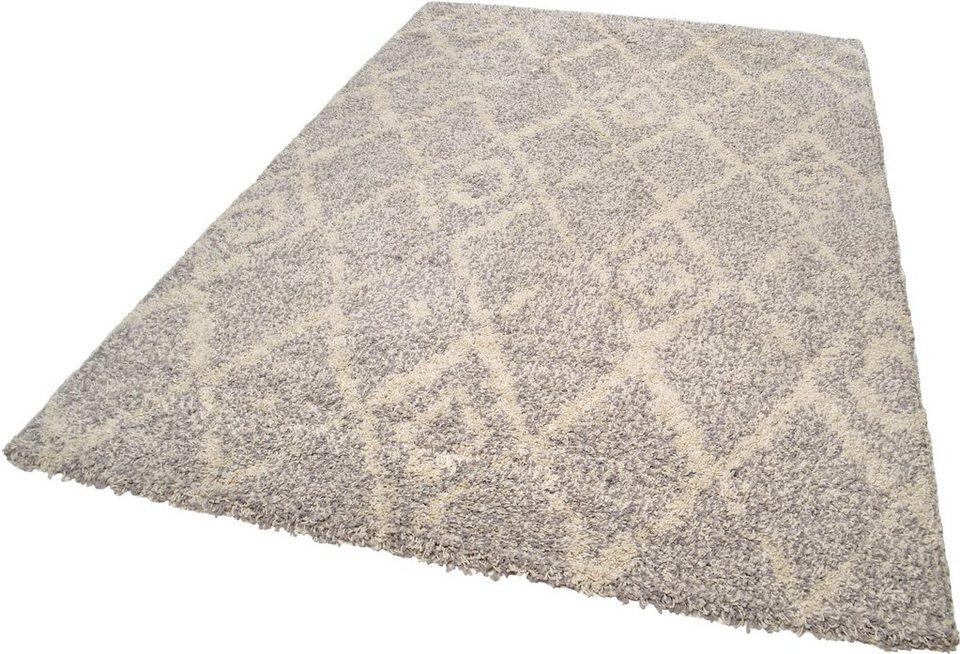 Hochflor-Teppich, Theko, »Color Shaggy 621«, Höhe 35 mm, handgewebt in grau