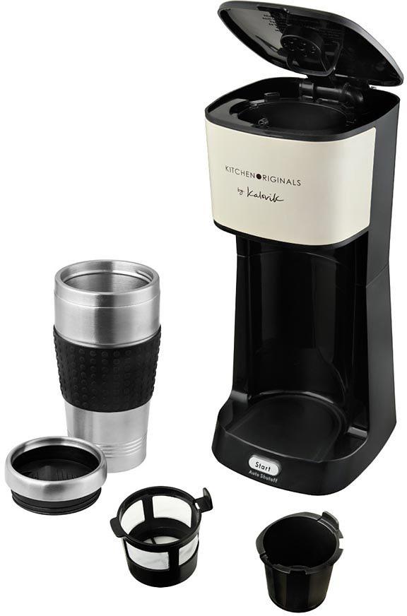 TEAM KALORIK 1-Tassen-Thermokaffeeautomat CM 1014 KTO, mit extra großen 420ml Becher,creme /schwarz in creme /schwarz