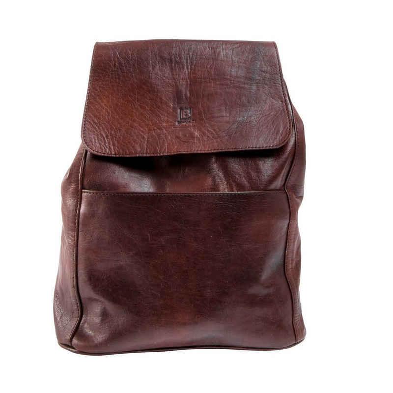 BINOAR Rucksack »Lederrucksack Dana braun dunkelbraun hellbraun vintage Cityrucksack Damen Herren«, Echtleder, pflanzlich gegerbt