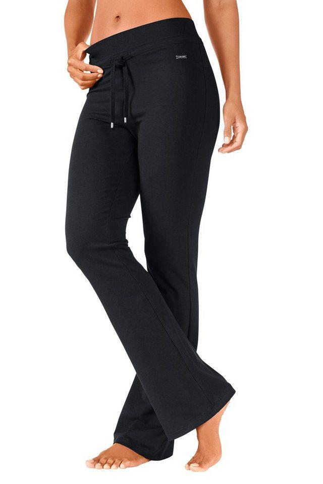LASCANA Elastische Relaxhose mit leicht augestelltem Bein in schwarz