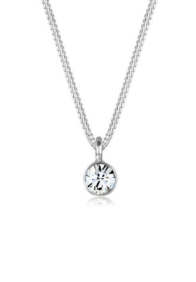 Elli Halskette »Basic Solitär Swarovski® Kristall 925 Silber« | Schmuck > Halsketten > Silberketten | Weiß | Elli