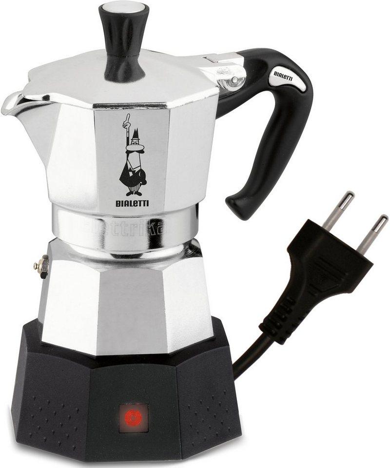 Bialetti Espressokocher Elettrika 2778, mit Wechselspannung, ideal für Reisen in Silber