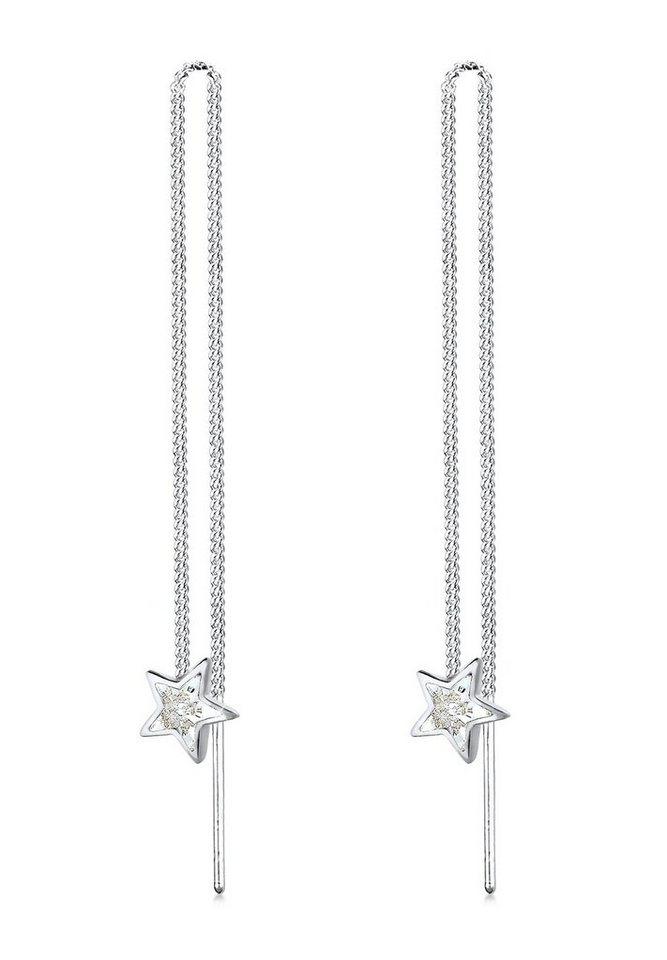 Elli Ohrringe »Swarovski Kristalle Sterne Silber« in Weiß