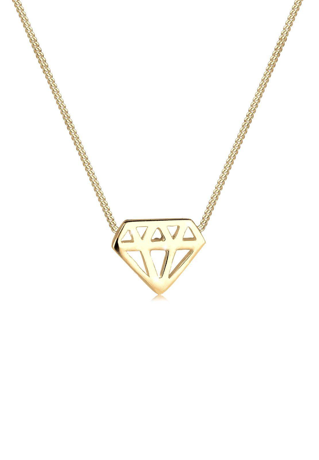 Elli Halskette »Diamant 925 Silber vergoldet«