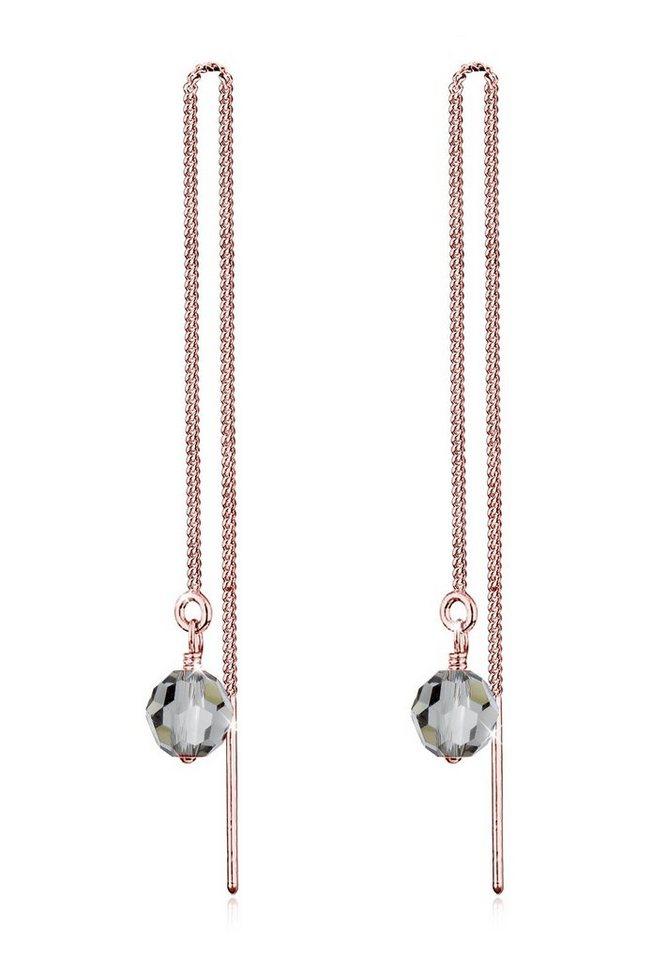 Elli Ohrringe »Kette Kugel Swarovski® Kristalle Eleganz Silber« in Rosegold