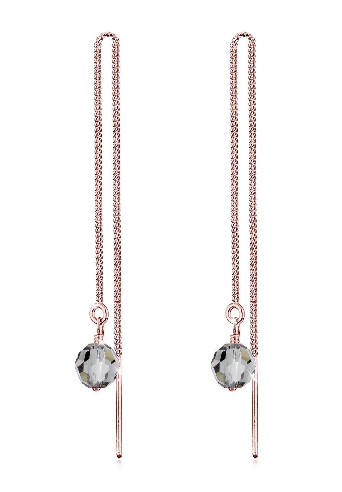 Elli Ohrringe »Kette Kugel Swarovski® Kristalle Eleganz Silber«