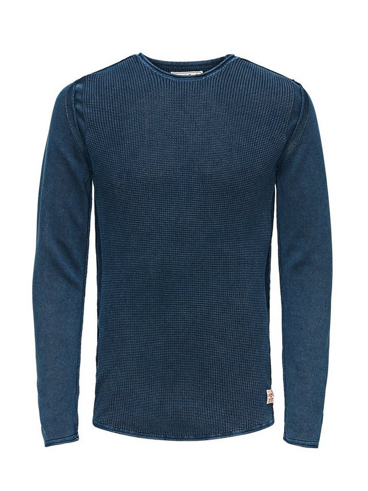 Jack & Jones Langer Waffelstruktur- Pullover in Total Eclipse