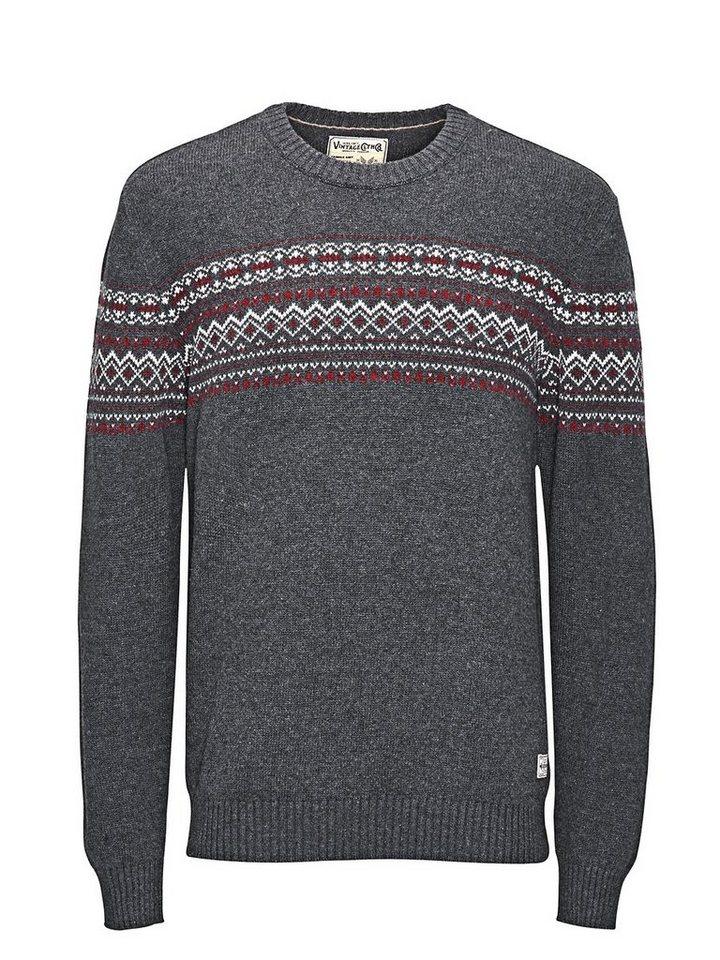 Jack & Jones Grafischer Wollmix- Pullover in Dark Grey Melange