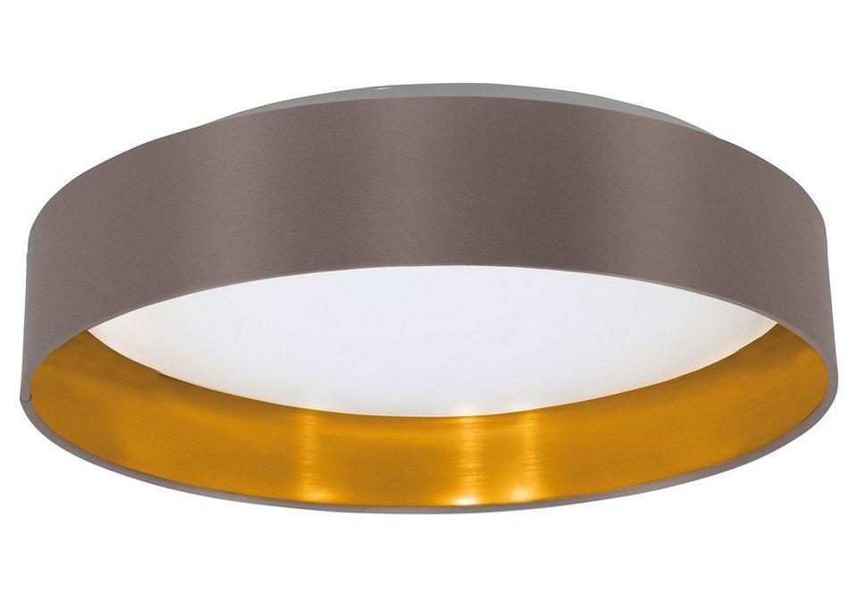 Eglo LED Deckenleuchte, 1flg., »MASERLO« in Kunststoff und Stahl, weiß, Textilschirm, cappuccino, gold