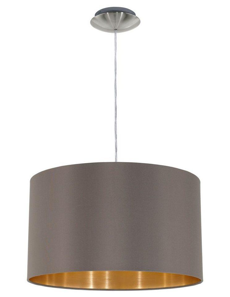 Eglo Pendelleuchte, 1flg., »MASERLO« in Stahl, nickel-matt, Textilschirm, cappuccino/gold