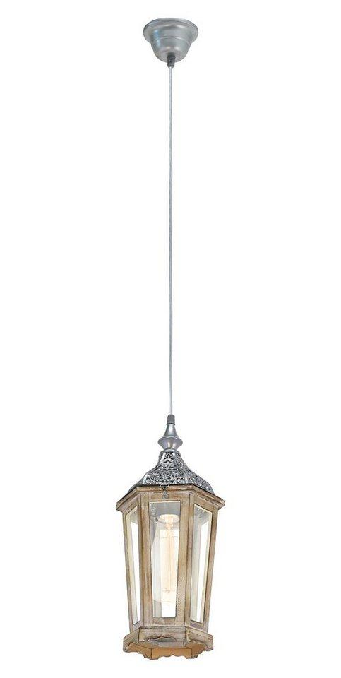 Eglo Pendelleuchte, 1flg., »VINTAGE« in Metall/Holz, silber - Glas, klar