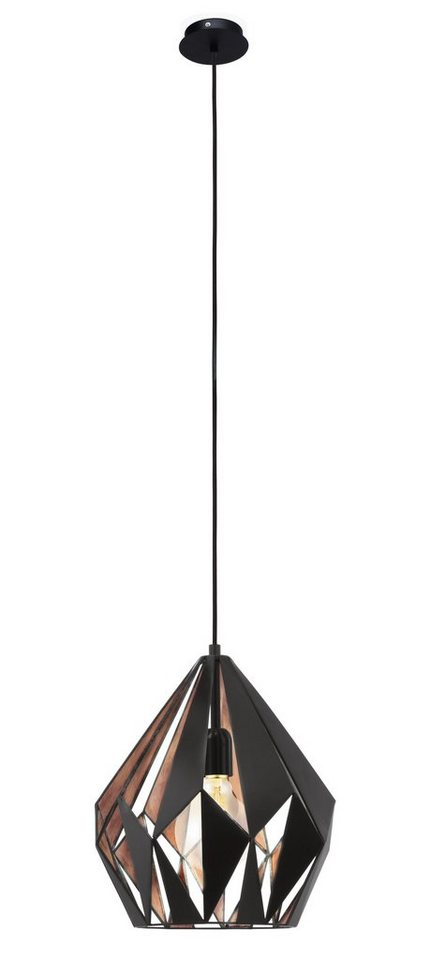 Eglo Pendelleuchte, 1flg., »CARLTON1« in Stahl, schwarz, kupferfarben