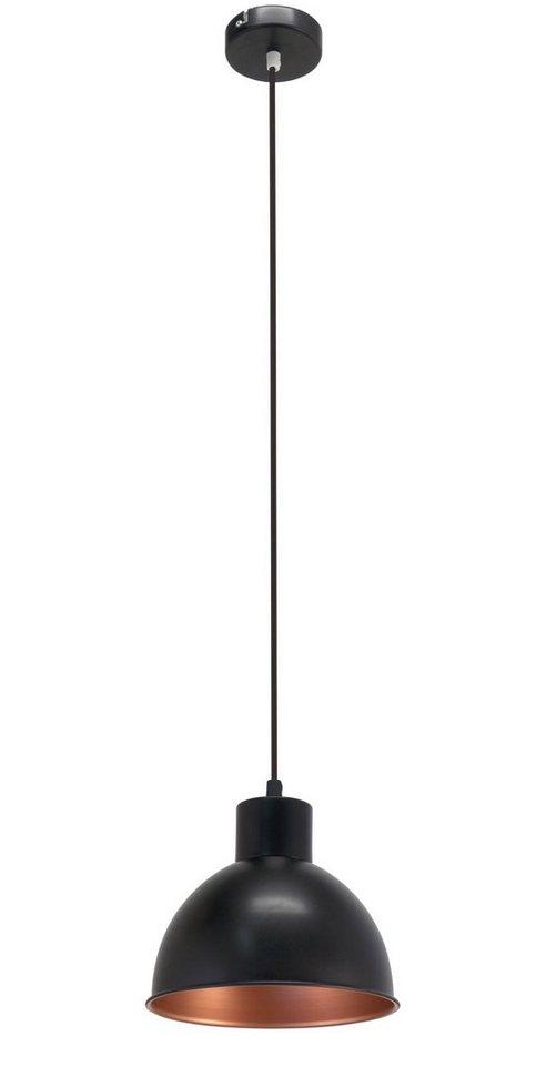 Eglo Pendelleuchte, 1flg., »TRURO 1« in Stahl, schwarz, innen kupferfarben