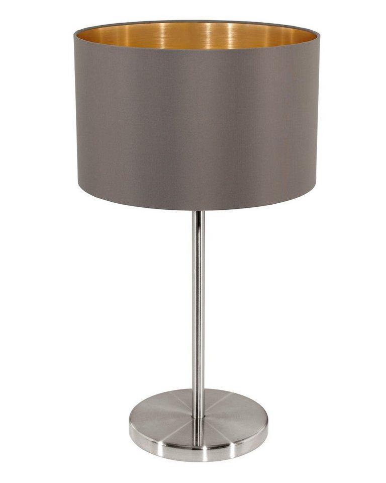 Eglo Tischleuchte, 1flg., »MASERLO« in Stahl, nickel-matt, Textilschirm, cappuccino/gold