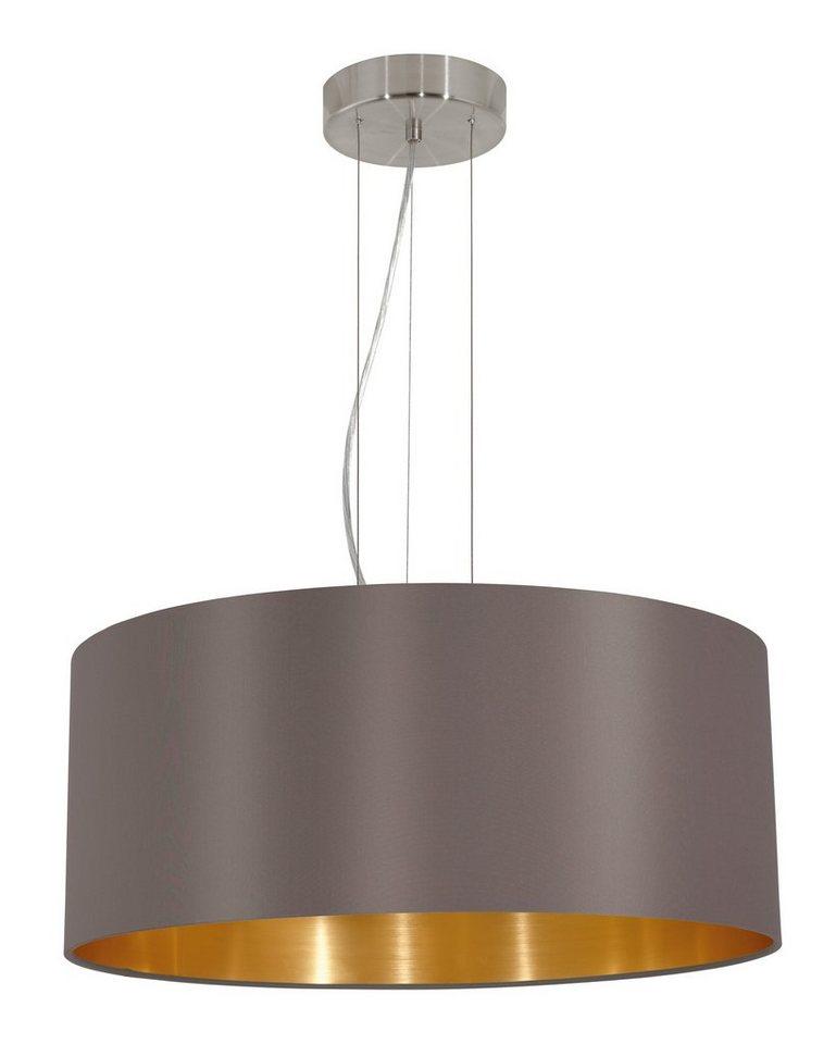 Eglo Pendelleuchte, 3flg., »MASERLO« in Stahl, nickel-matt, Textilschirm, cappuccino, gold