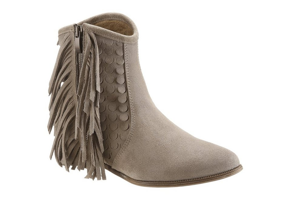 Arizona Boots mit Fransen in taupe