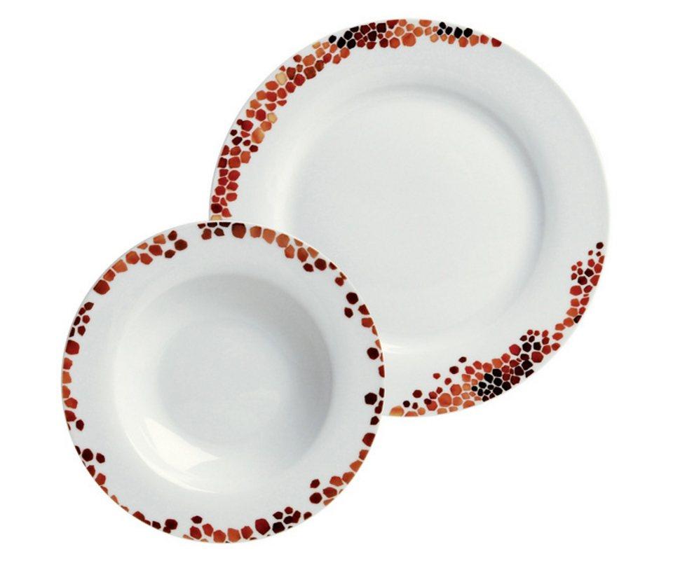ARTE VIVA Tafelservice, design I love®, Porzellan, »UMBRIA« in Weiß mit rotem Mosaikdekor