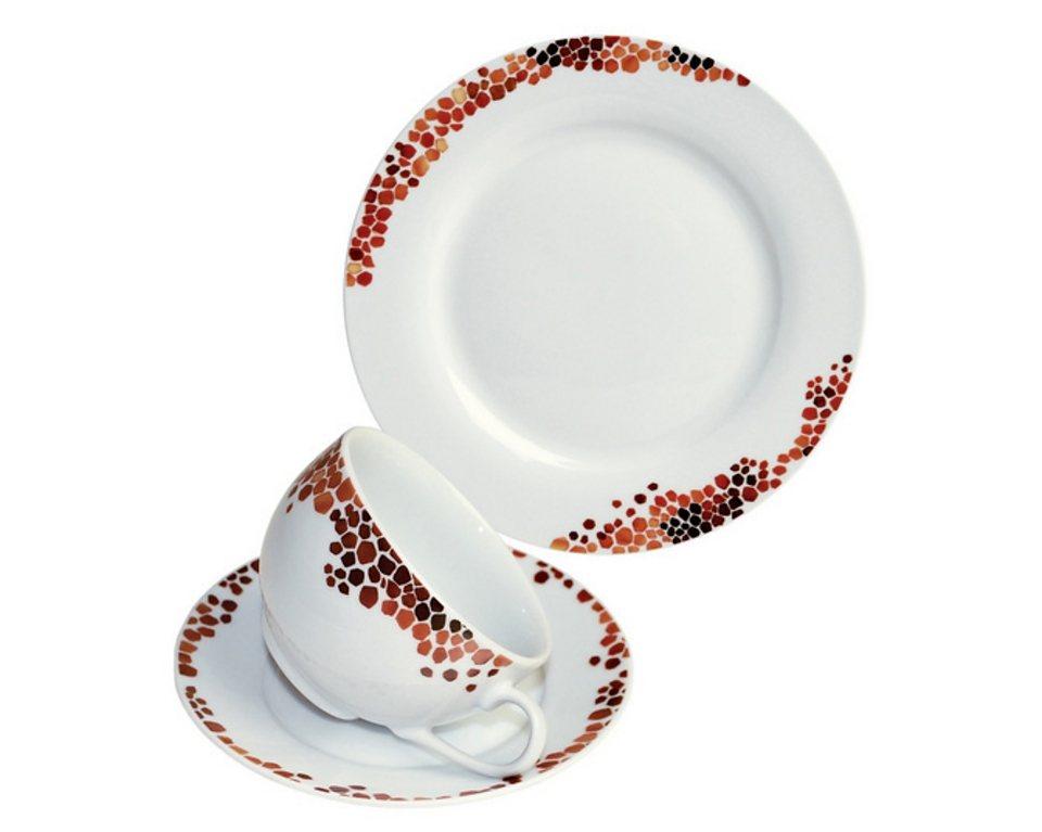 ARTE VIVA Kaffeeservice, design I love®, Porzellan, »UMBRIA« in Weiß mit rotem Mosaikdekor