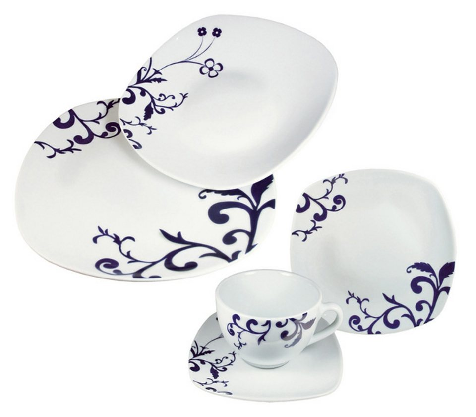 Kombiservice »BAROCCO« (30tlg.), design I love® in Weiß, mit blauem Rankendekor