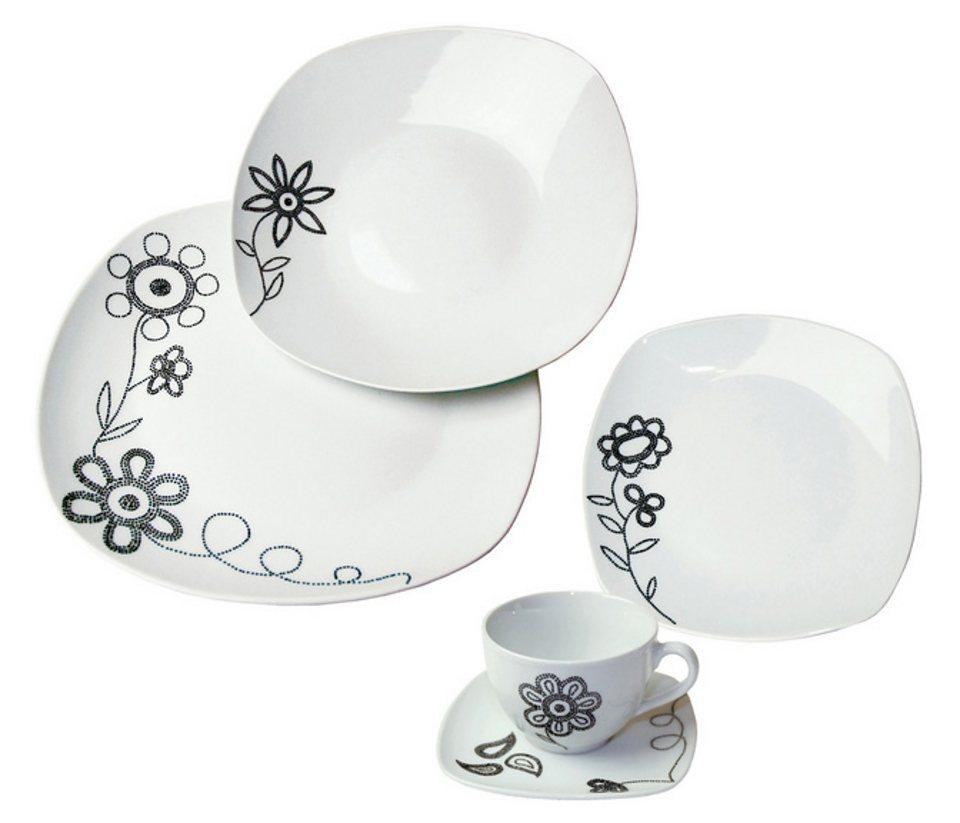 Kombiservice »PUNTO PIÙ« (30tlg.), design I love® in Weiß, mit schwarzem Blumendekor