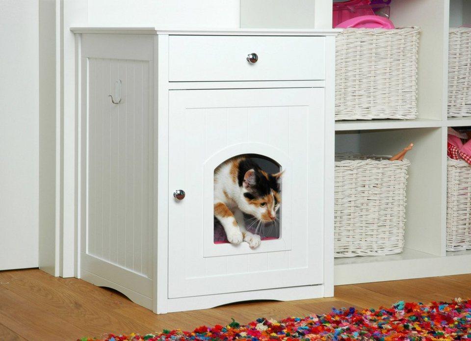 Katzenhaus »Designer Katzenschrank/Katzenklo« in weiß